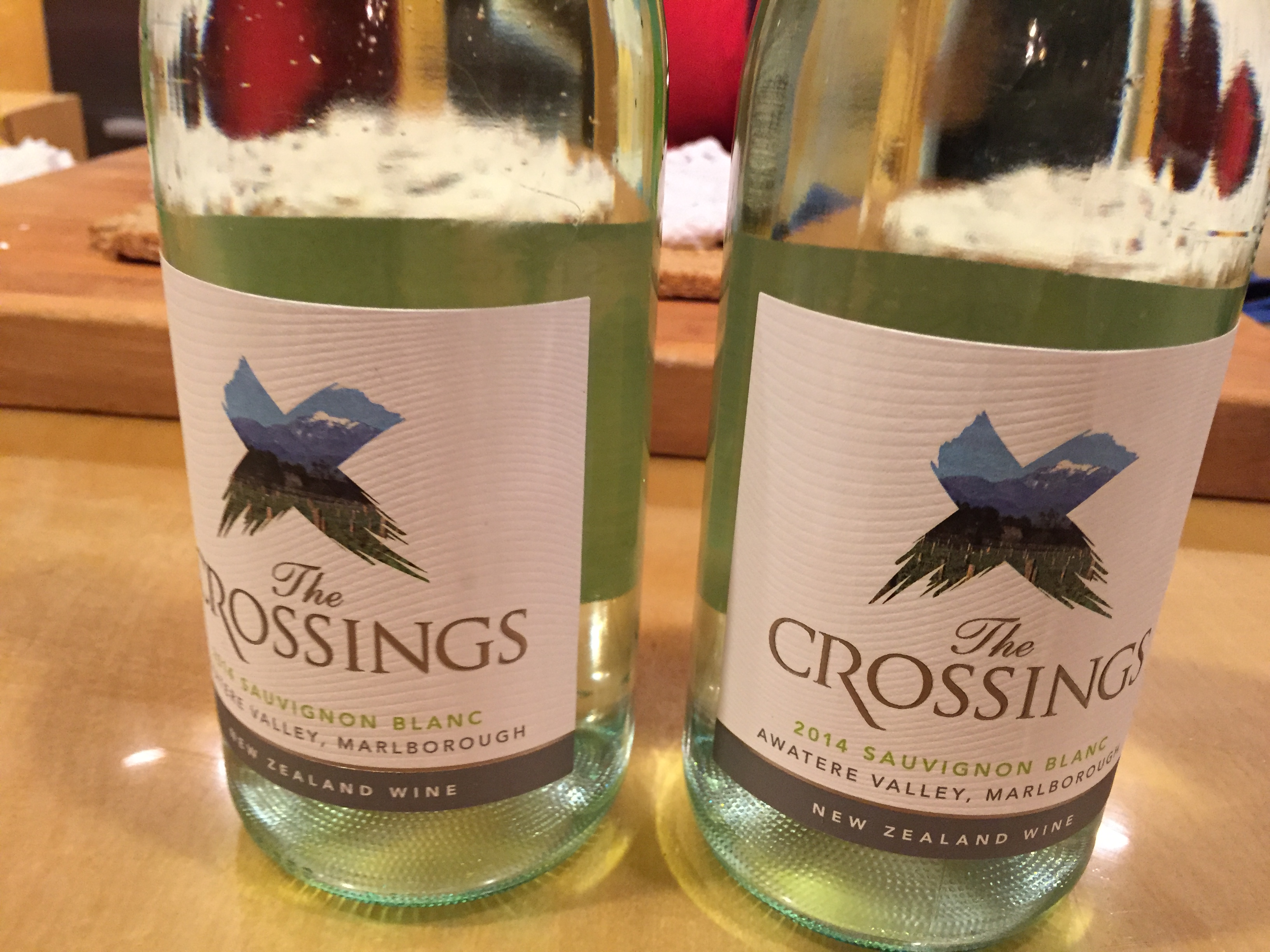 Two bottles of The Crossing white wine